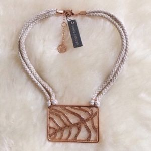 Vince Camuto Hemp Cord Rose Gold Pendant Necklace